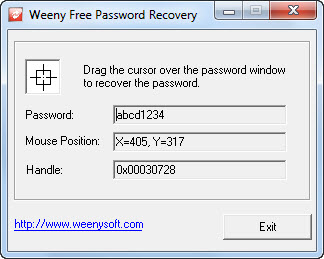 Click to view Weeny Free Password Recovery 1.0 screenshot
