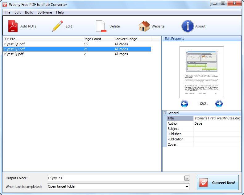 Weeny Free PDF to ePub Converter v.1.0