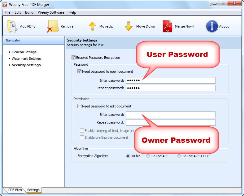 PDF user password and owner password
