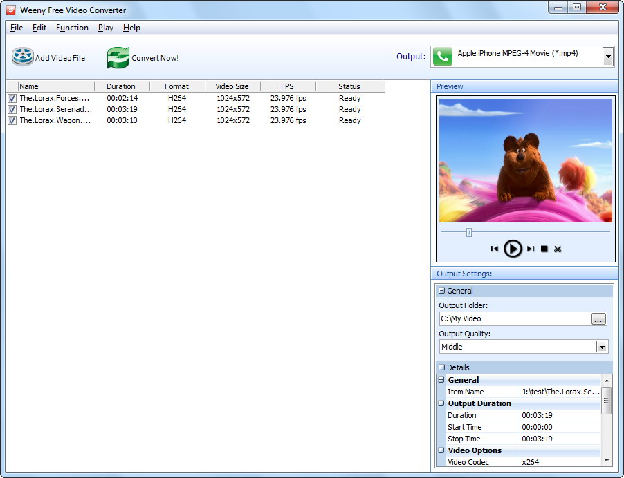 Click to view Weeny Free Video Converter 1.5 screenshot