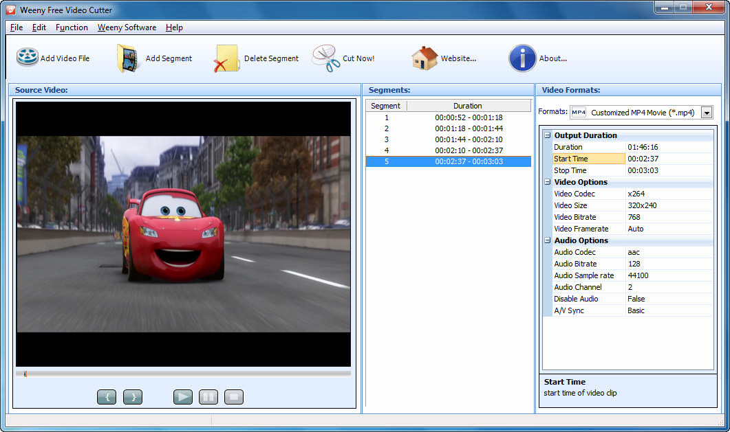 Click to view Weeny Free Video Cutter 1.1 screenshot