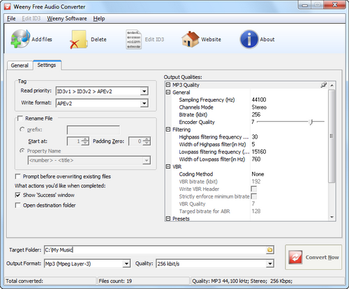 Free Audio Converter screenshot 2 - audio settings window