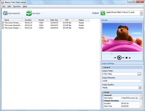 Free Video Joiner screenshot 1 - main window