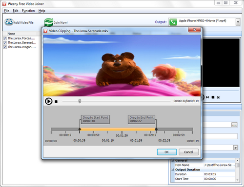 Free Video Joiner screenshot 3 - video clipping window