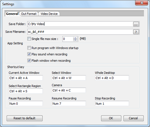 Free Video Recorder screenshot 2 - general settings window